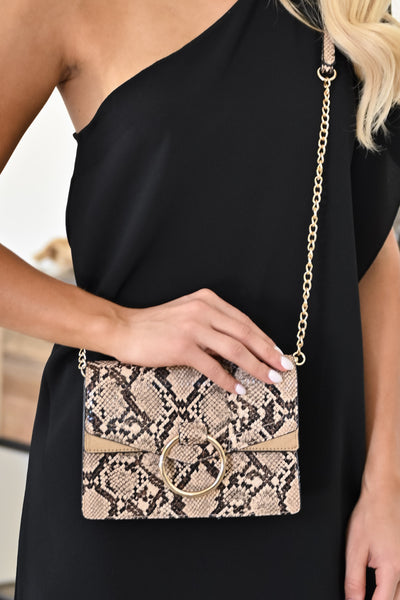 Cold Hearted Snake Clutch - Natural womens trendy crossbody snake print purse closet candy 2