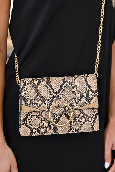 Cold Hearted Snake Clutch - Natural womens trendy crossbody snake print purse closet candy 3