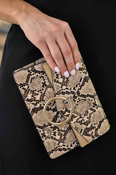 Cold Hearted Snake Clutch - Natural womens trendy crossbody snake print purse closet candy close