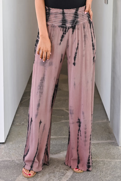 Free to Be Me Palazzo Pants - Dusty Rose womens trendy elastic waist tie dye pants closet candy close