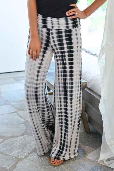 Hear The Music Tie Dye Palazzo Pants - Black/White womens trendy multi color wide leg pants closet candy close
