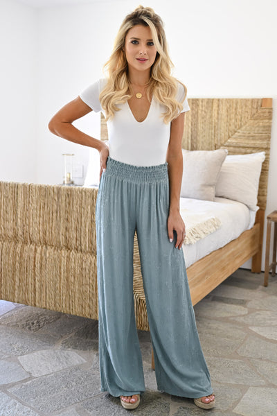 Dreamer Embroidered Wide Leg Palazzo Pants - Sage womens trendy elastic waist embroidered pants closet candy full