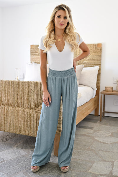 Dreamer Embroidered Wide Leg Palazzo Pants - Sage womens trendy elastic waist embroidered pants closet candy full 2