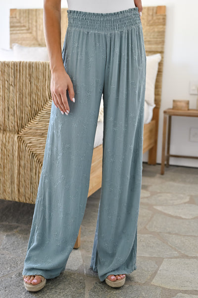 Dreamer Embroidered Wide Leg Palazzo Pants - Sage womens trendy elastic waist embroidered pants closet candy close