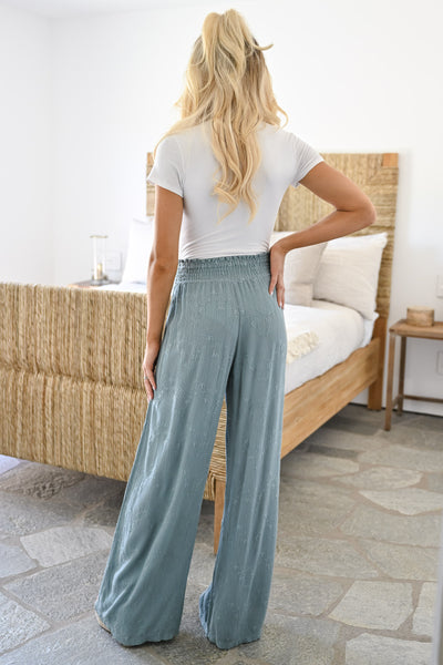 Dreamer Embroidered Wide Leg Palazzo Pants - Sage womens trendy elastic waist embroidered pants closet candy back