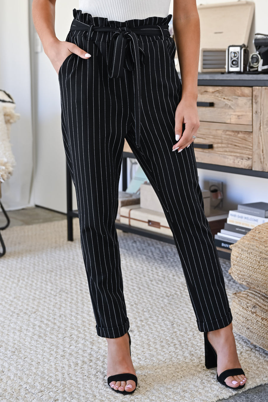 Work Life Balance Pinstripe Pants - Black womens trendy paper bag tie waist pants closet candy full