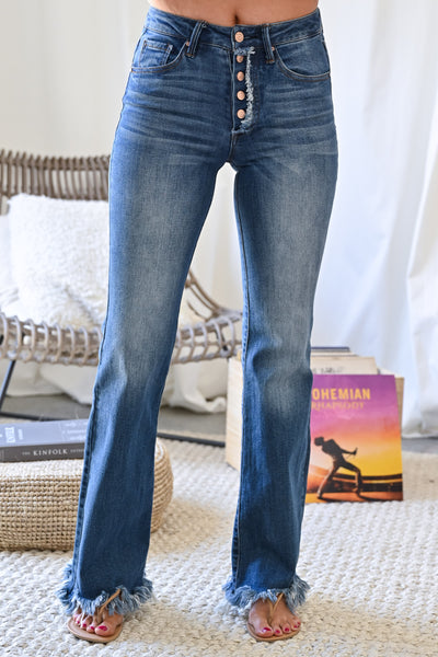 Exposed Button Jenny Flared Jeans - Dark Wash womens trendy raw hem dark denim closet candy close 2