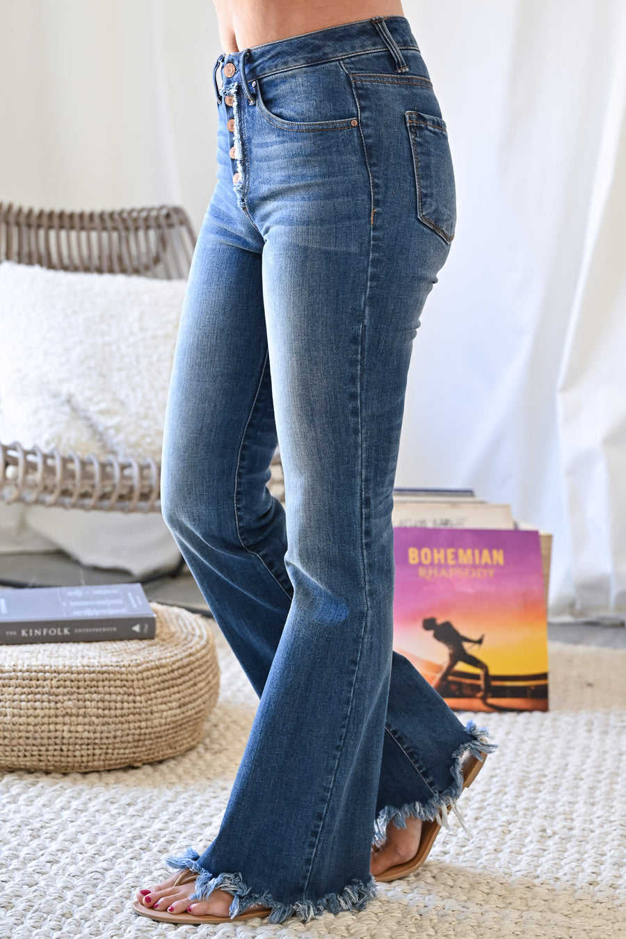 Exposed Button Jenny Flared Jeans - Dark Wash womens trendy raw hem dark denim closet candy close