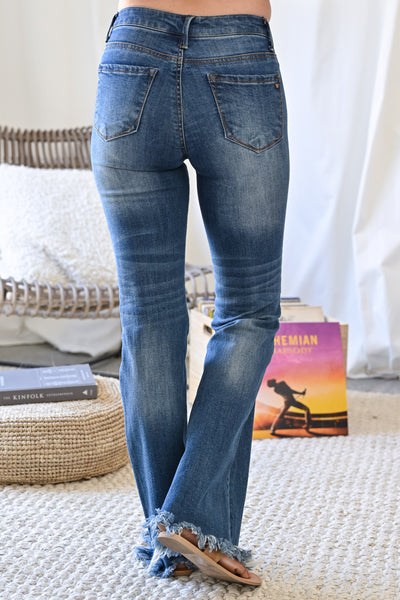 Exposed Button Jenny Flared Jeans - Dark Wash womens trendy raw hem dark denim closet candy back