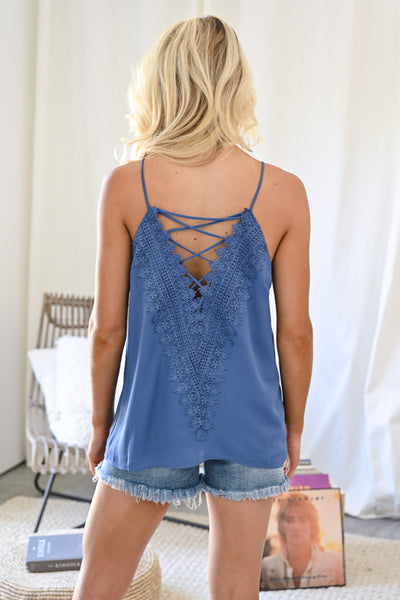 Time to Switch it Up Cami - Blue womens trendy criss cross reversible tank top with lace closet candy back