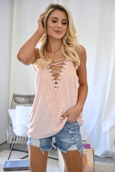 Time To Switch It Up Cami - Blush womens trendy strappy front chiffon tank top closet candy front