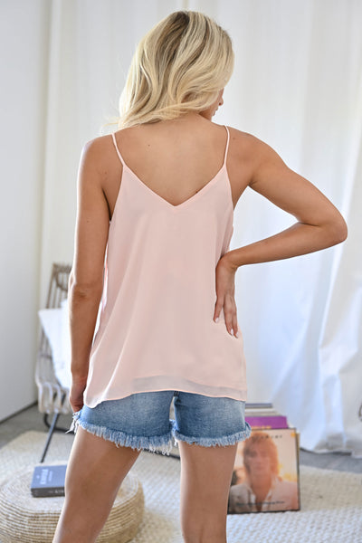 Time To Switch It Up Cami - Blush womens trendy strappy front chiffon tank top closet candy back 2