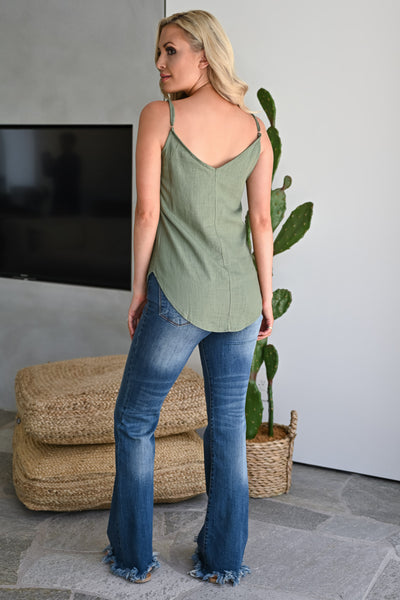 Eyes on You Button Up Cami - Olive womens trendy tank top with buttons closet candy back