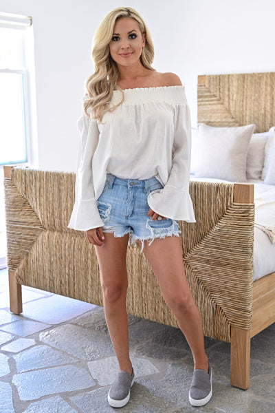 Rachel Loves Ross Top - Ivory womens trendy off the shoulder bell sleeve top closet candy full