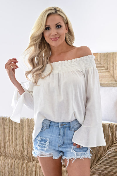 Rachel Loves Ross Top - Ivory womens trendy off the shoulder bell sleeve top closet candy close 1