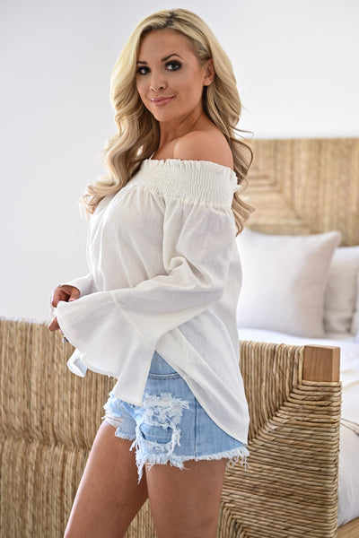 Rachel Loves Ross Top - Ivory womens trendy off the shoulder bell sleeve top closet candy side
