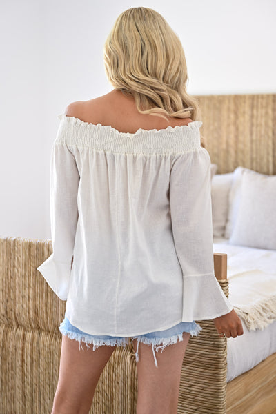 Rachel Loves Ross Top - Ivory womens trendy off the shoulder bell sleeve top closet candy back