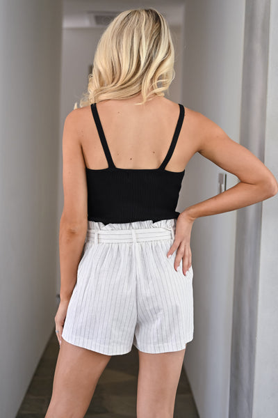 Summer Crush Pinstripe Paper Bag Shorts - Ivory womens trendy striped tie waist shorts closet candy back