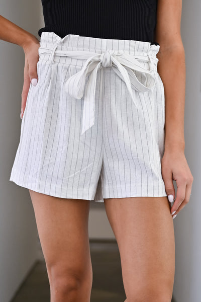 Summer Crush Pinstripe Paper Bag Shorts - Ivory womens trendy striped tie waist shorts closet candy close