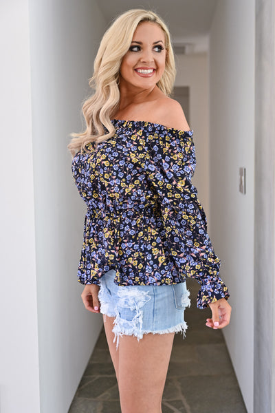 Beautiful Day Top - Navy womens trendy off the shoulder floral top closet candy side