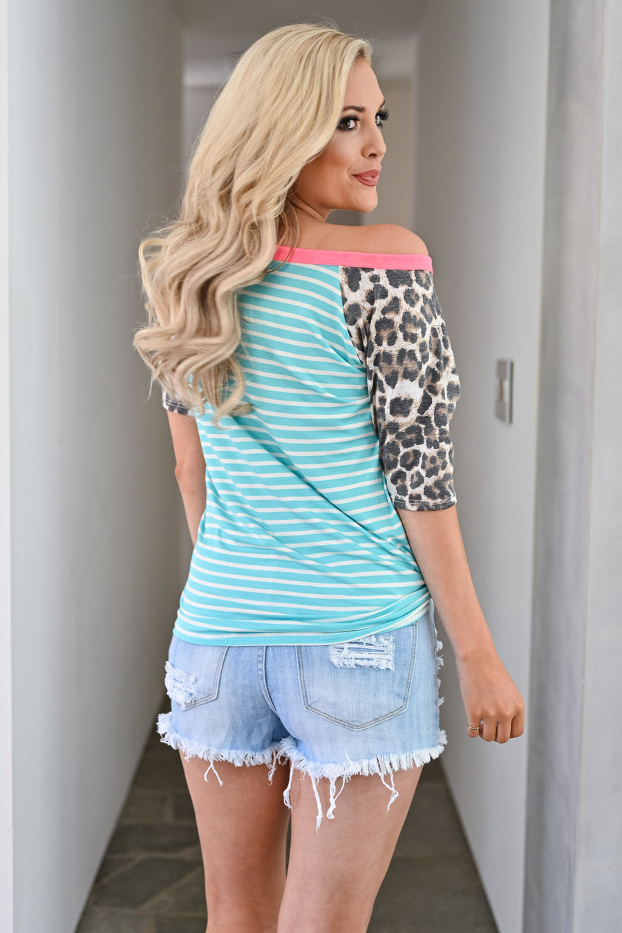 Take It All Top - Aqua womens casual striped and leopard tshirt closet candy front