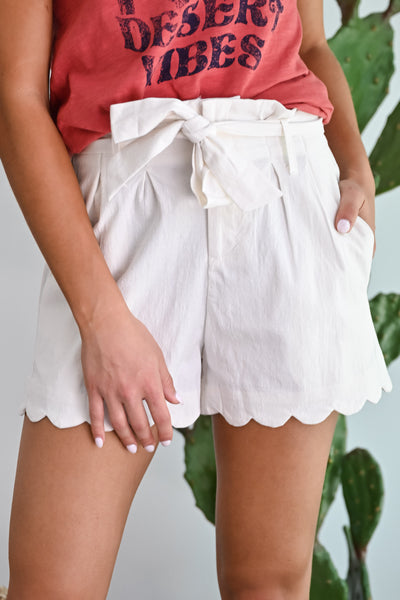 Here's to You Scallop Paper Bag Shorts - Ivory womens trendy tie waist linen shorts closet candy front