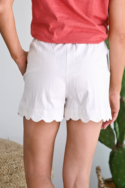 Here's to You Scallop Paper Bag Shorts - Ivory womens trendy tie waist linen shorts closet candy back