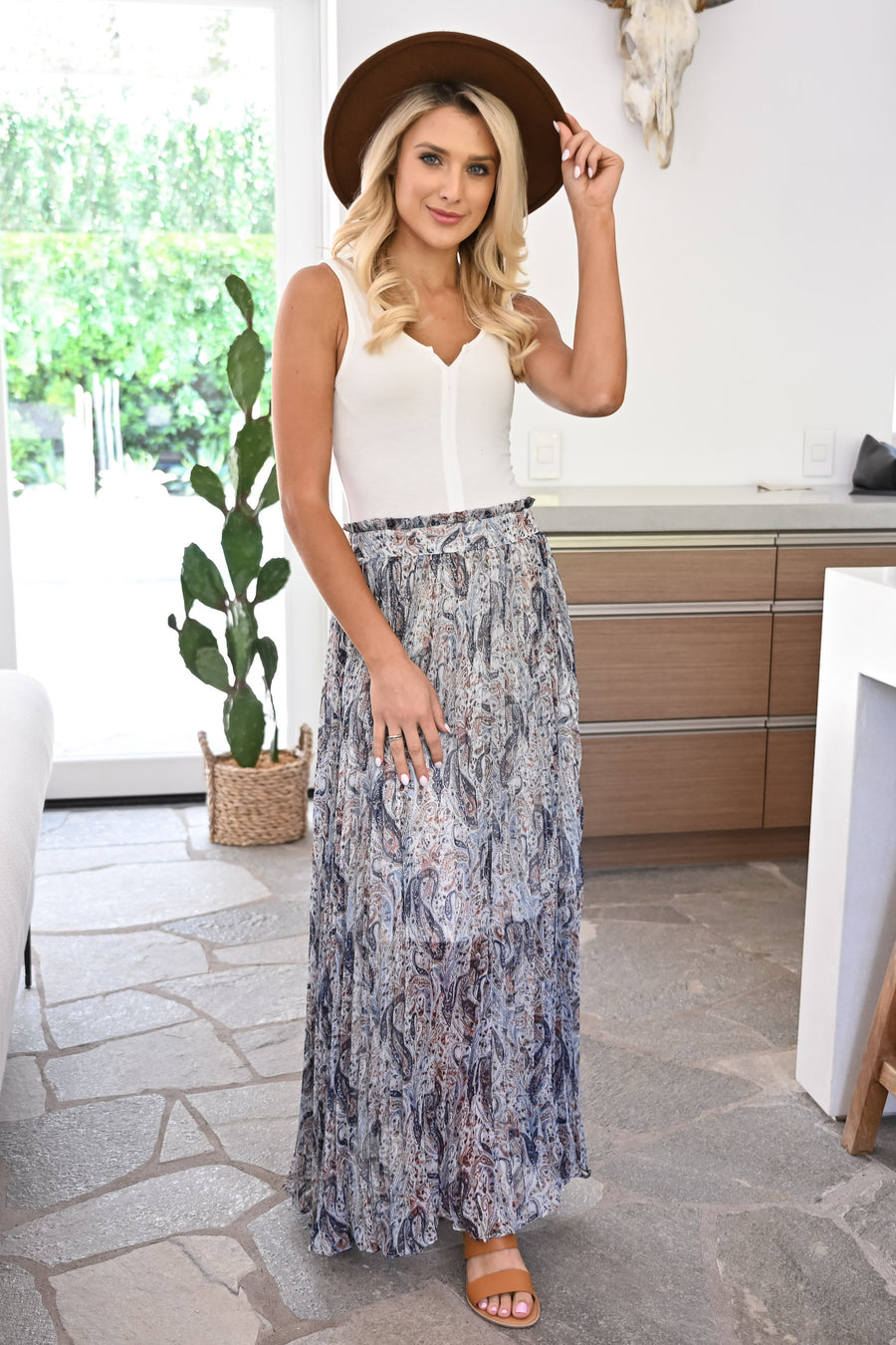 Down By The River Maxi Skirt - Navy womens trendy paisley printed long chiffon skirt closet candy side