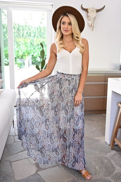 Down By The River Maxi Skirt - Navy womens trendy paisley printed long chiffon skirt closet candy front 2