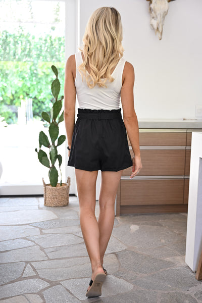 Unforgettable Paper Bag Shorts - Black womens trendy tie waist button detail linen shorts closet candy back