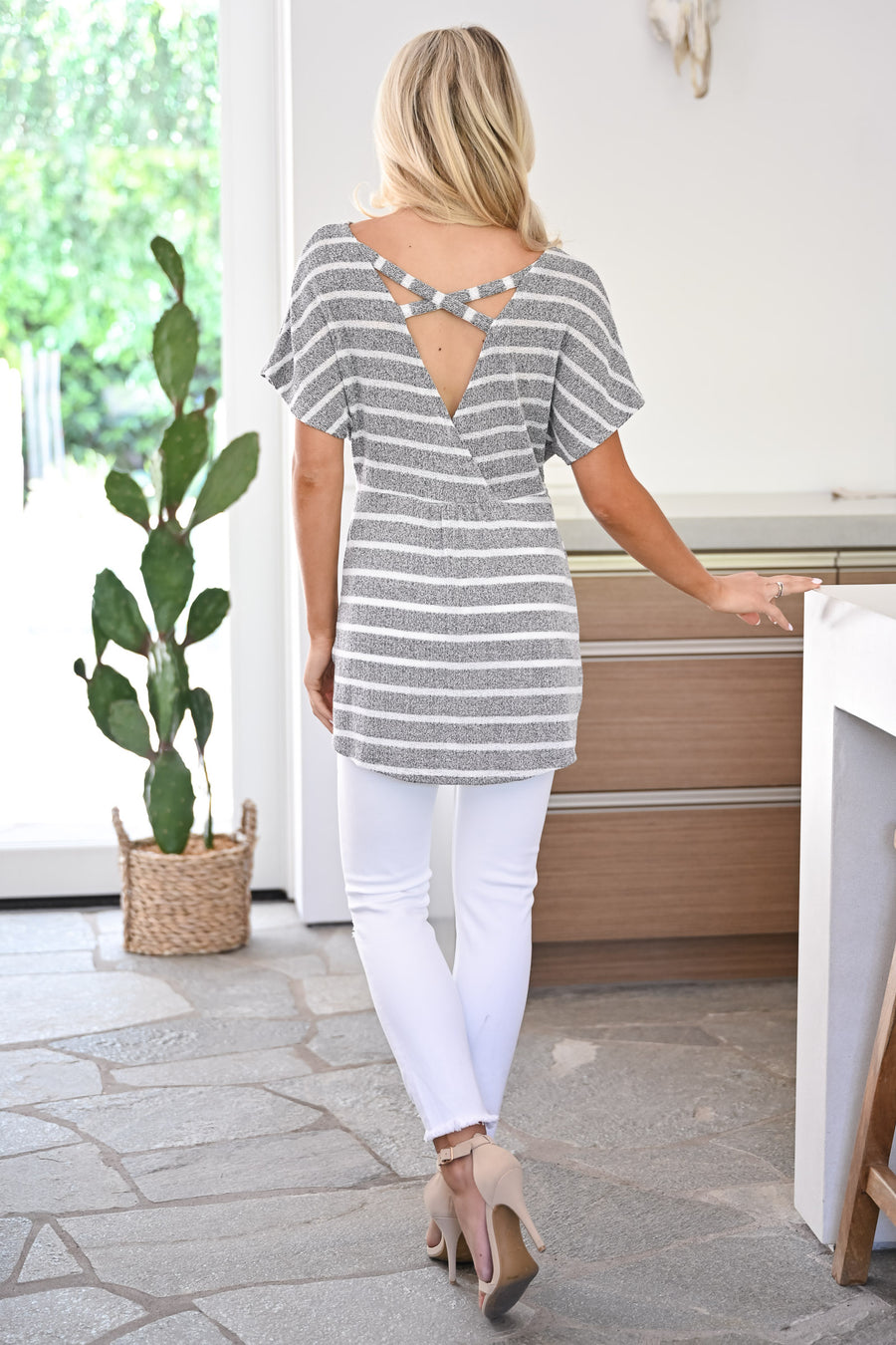 Lake Living Striped Top - Heather Grey womens trendy twist front striped short sleeve top closet candy front