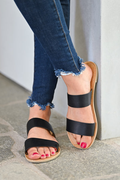 Athena Slide Sandals - Black womens casual slip on double banded sandals closet candy front