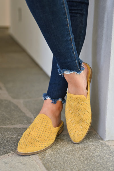 Isabel Studded Mules - Mustard womens trendy slip on loafer closet candy front