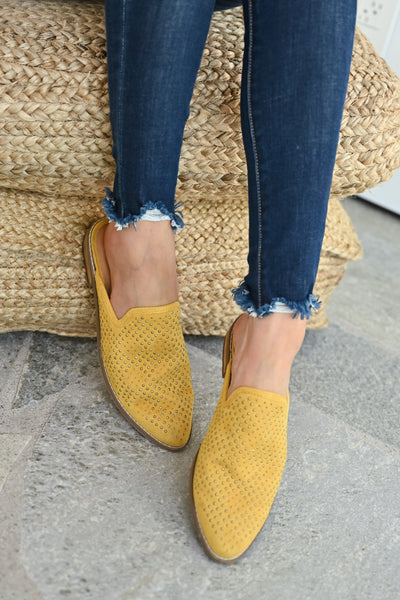 Isabel Studded Mules - Mustard womens trendy slip on loafer closet candy front 3