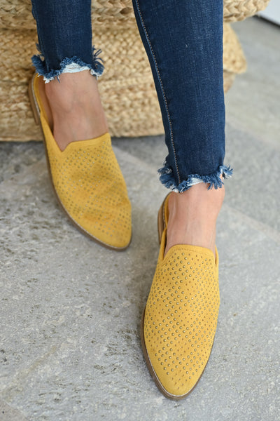 Isabel Studded Mules - Mustard womens trendy slip on loafer closet candy front 2