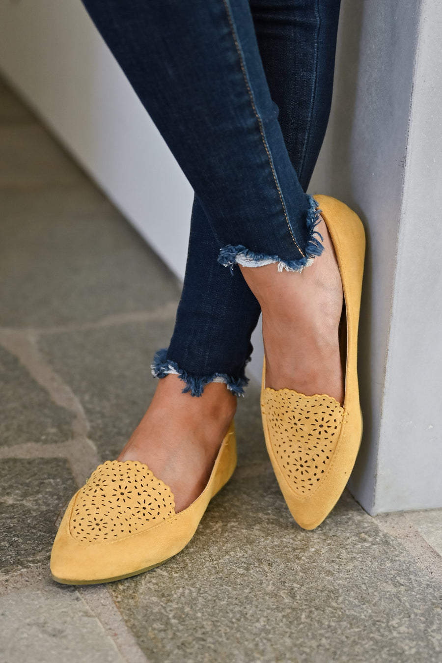 Back To The City Loafers - Mustard womens trendy laser cut slip on loafers closet candy front