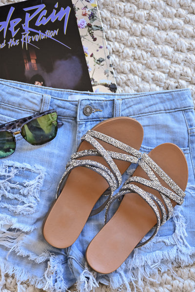 Lana Strappy Sandals - Silver womens trendy crystal criss cross slip on sandal closet candy flatlay