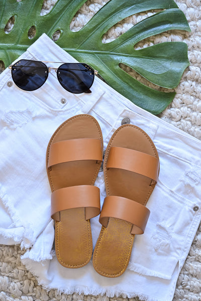 Athena Slide Sandals - Camel womens slip on tan sandals closet candy flatlay