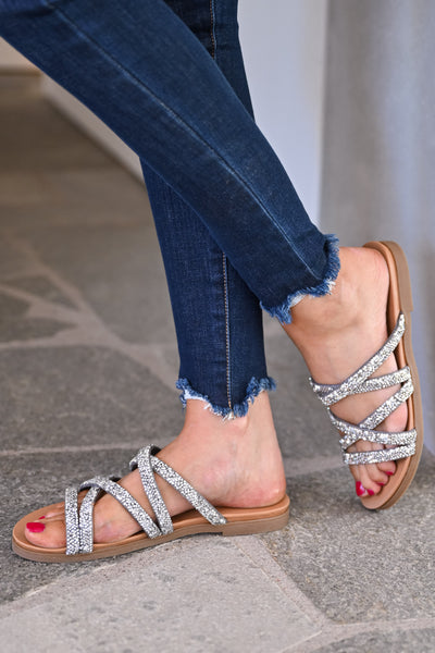 Lana Strappy Sandals - Silver womens trendy crystal criss cross slip on sandal closet candy side