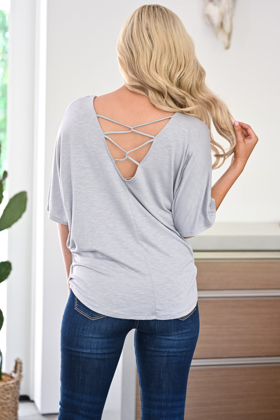 Didn't See That Coming Top - Grey womens casual twist front cross back short sleeve tee closet candy front