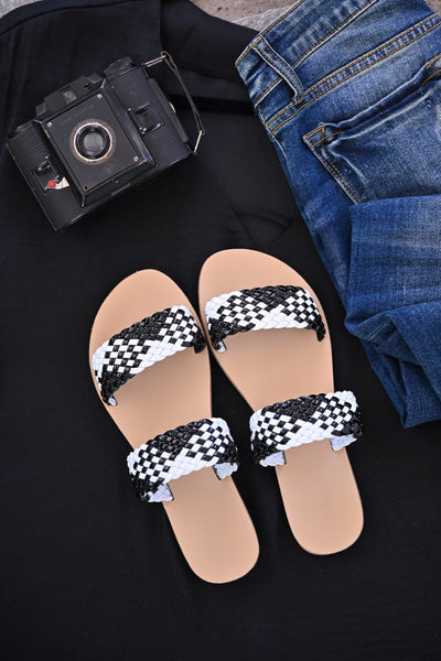 Athena Slide Sandals - Black & White womens casual slip on summer sandals closet candy 1