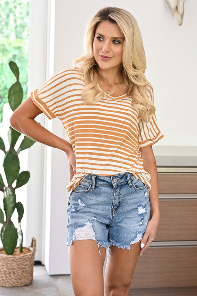 Drops of Sun Top - Mustard womens casual striped v-neck tee closet candy front2