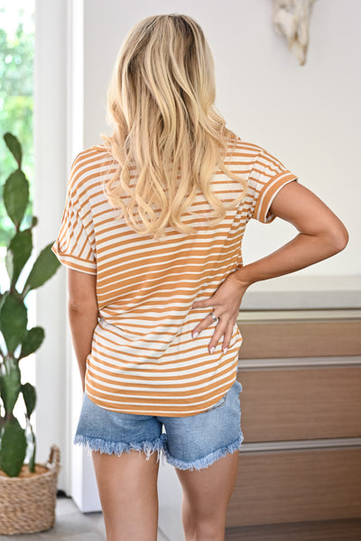 Drops of Sun Top - Mustard womens casual striped v-neck tee closet candy back