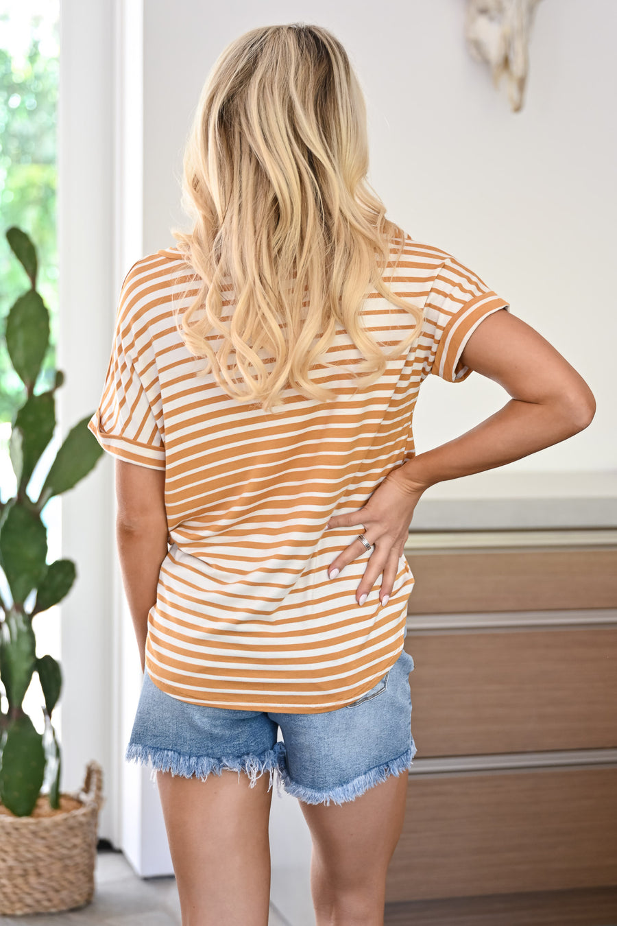 Drops of Sun Top - Mustard womens casual striped v-neck tee closet candy front