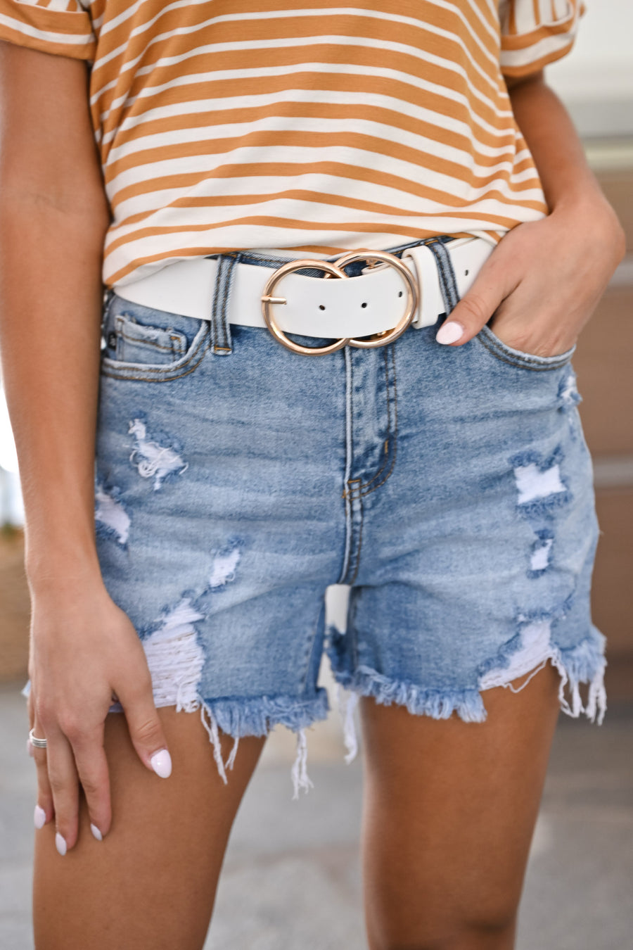 Double Trouble Belt - White & Gold womens trendy thick double circle belt closet candy