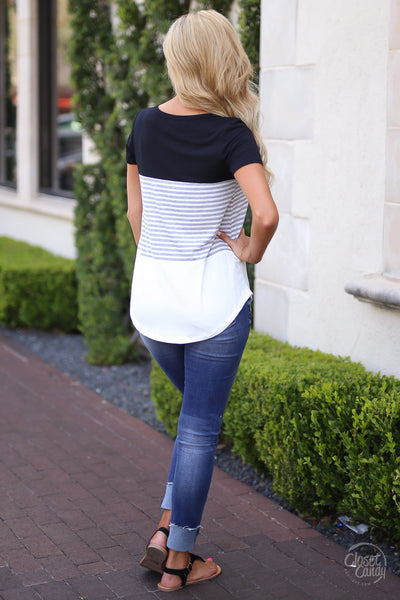 All Day Everyday Top - Black- Trendy and fashionable top by Closet Candy Boutique - Back View