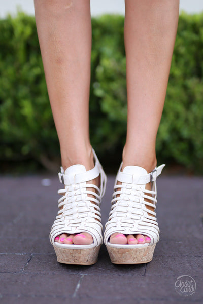 Jolina Wedges - Cream - Cute & Trendy Shoes by Closet Candy Boutique - Front