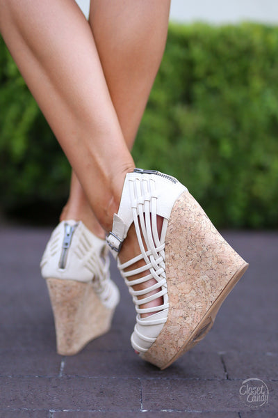 Jolina Wedges - Cream - Cute & Trendy Shoes by Closet Candy Boutique - Back