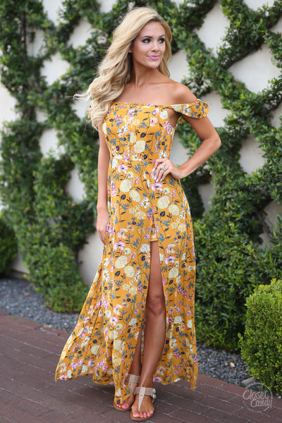 Georgia On My Mind Maxi Romper - Mustard floral off the shoulder dress with shorts trendy clothes closet candy boutique