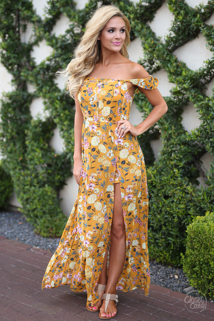 Woke Up In Nashville Maxi Romper - Mustard floral off the shoulder dress with shorts trendy clothes closet candy boutique